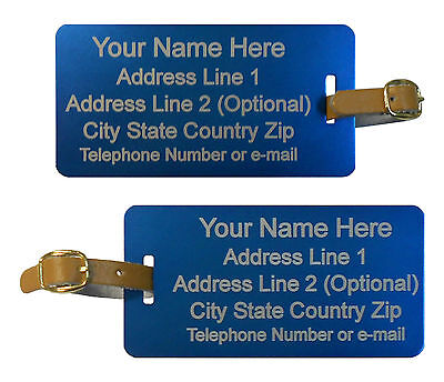 1 Personalized Aluminum Metal Luggage Sports ID Tag Free 2 Sides Engraving.