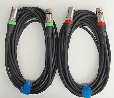 10m Mikrofon Kabel XLR DMX Kabel OFC-Kupfer  2 Stück je 10m inkl. Kabelklett