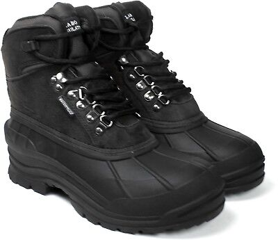 Labo Mens Black Leather Winter Snow Boots Waterproof Shoes 103  Wide