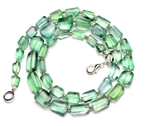 """Natural Gem Rainbow Fluorite 8x6 to 14x9mm Size Smooth Nugget Beads Necklace 20"""""""