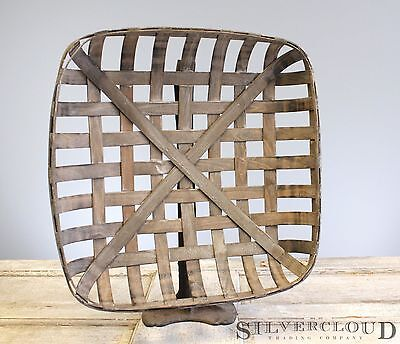 """Tobacco Basket, Rustic Farmhouse Decor, Med 21"""" Square Great Display for Wreaths"""
