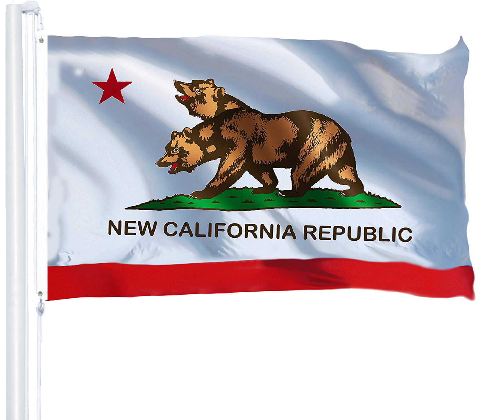 G128 Double Head New California Republic Flag Banner 3x5ft 1