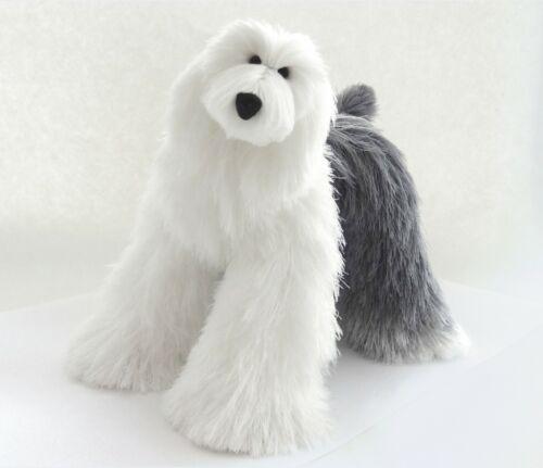 Mini Old English Sheepdog White Light Gray Poseable Bob-Tailed Sheepdog Dog