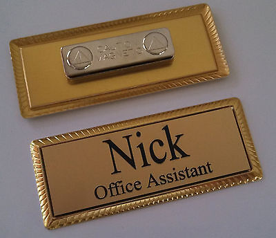 "GOLD Engraved Name Tag on GOLD metal frame 1""x3"" w/magnetic badge attachment"