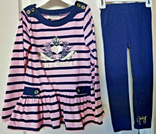 Juicy Couture Girls Pink & Navy Blue with Gold Logo 2pc Tunic/Leggins set Sz 5