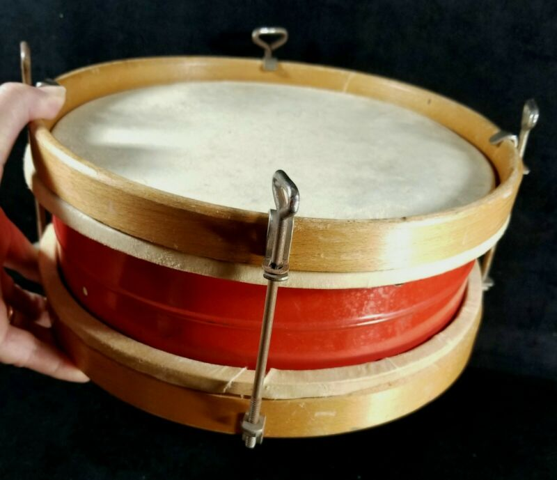 """Vintage Child Size Double Sided Drum Wood Metal Skin Heads 10""""x4.2"""" Needs Work"""