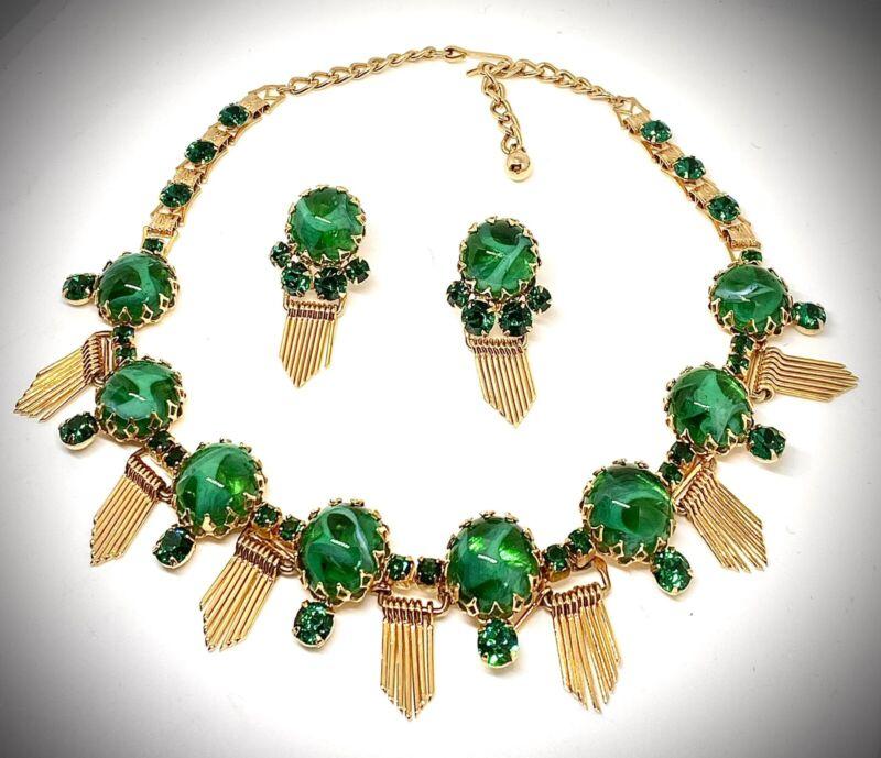 🍐SCHREINER NEW YORK🍐GRIPOIX FAUX-EMERALD GOLD FRINGE🍐NECKLACE EARRINGS SET