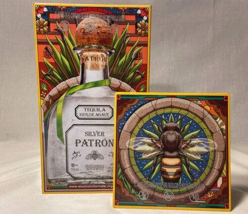 Silver PATRON Tequila Limited Edition Collector Tin Box Woman Bee Aztec Mexican