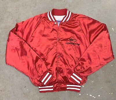 Rare VTG 90s MVP Red Corvette Satin Snap Bomber Jacket Medium Embroidered