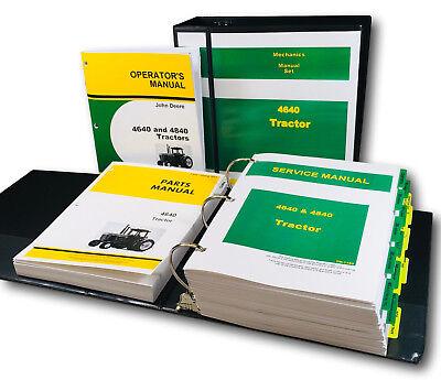 Technical Service Parts Operators Manual Set For John Deere 4640 Tractor Repair