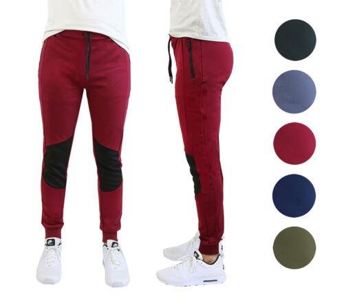 Mens Poly Tech Fleece Jogger Pants Moisture Wicking Moto Lounge Active Slim Fit
