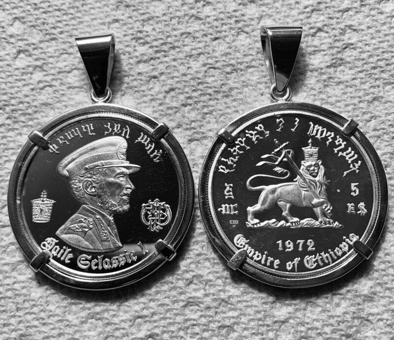 A 1972 $5 Haile Selassie I Ethiopian .999 Pure Silver Coin Pendant