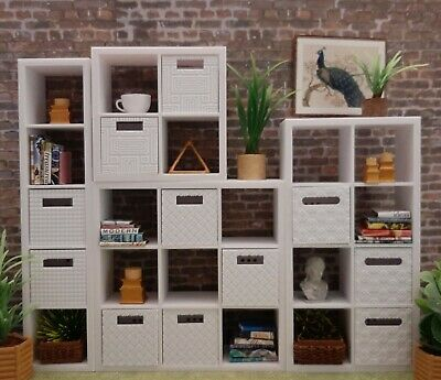 for BARBIE HUGE IKEA new KALLAX 4 shelf SET + 11 BINS furniture HOUSE 1/6