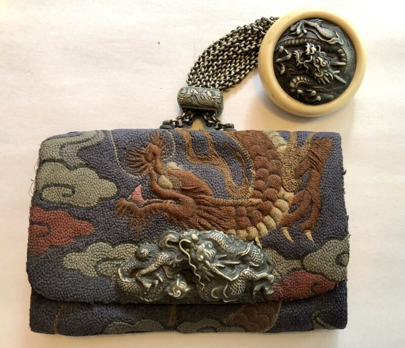 Antique Japanese Tobacco Pouch Leather Embroidered Dragon With Netsuke