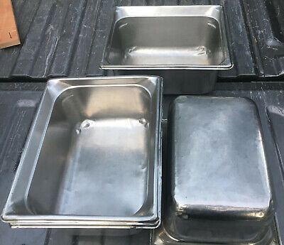 Lot 4 Stainless Steel 6 Deep Half Size Steam Table Pans 12