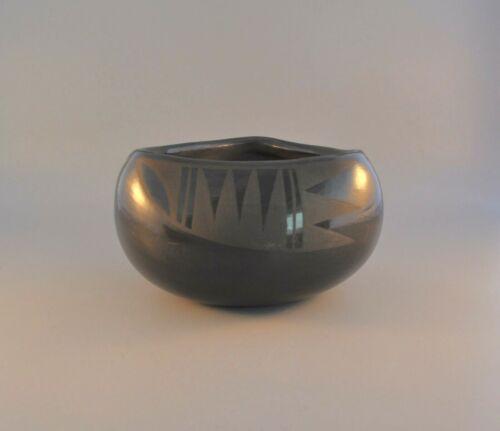 Vintage San Ildefonso Pueblo Indian Pot - Black on Black w. Eagle Wing Design