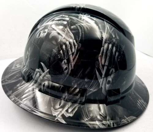 Hard Hat custom hydro dipped , OSHA approved FULL BRIM ,FTW GRIM REAPER UP YOURS 1
