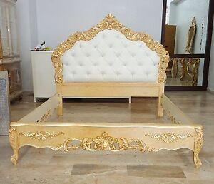 letto matrimoniale stile barocco legno ecopelle cristalli