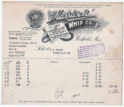 RARE Billhead - Massasoit Whip Co Westfield MA 1913 Indian Illustrated Graphic