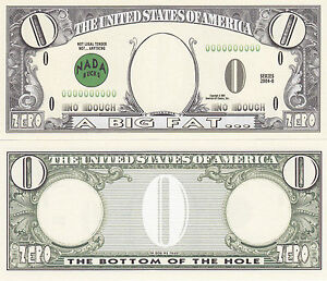 10 Zero Dollar Nada Bucks Prank Fake Money Bills Lot Ebay