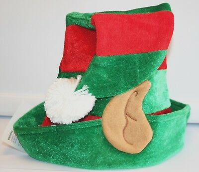 Elf Hat with Ears Green and Red Stripes Santa Christmas Play Costume Party / NEW](Elf Ears And Hat)