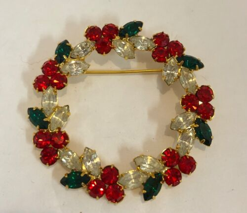 Vintage Rhinestone Christmas Wreath Brooch Pin Green Red Clear Goldtone Prong