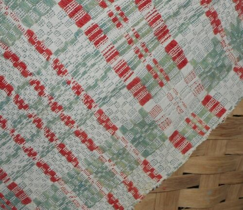 Antique Primitive Americana Loom Woven Wool Jacquard Pc. ~ Green Red