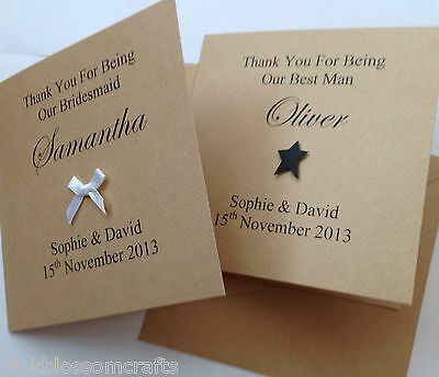 PERSONALISED THANK YOU CARD BEST MAN BRIDESMAID USHER MUM DAD FLOWER GIRL PAGE