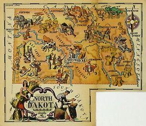 North Dakota Antique Vintage Pictorial Map