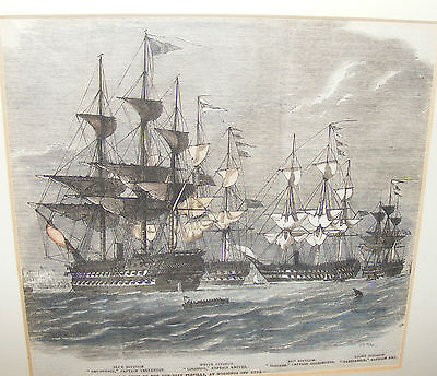 ANTIQUE PRINT ENGRAVING H.M. DIVISIONAL SHIPS OF THE GUN BOAT FLOTILLA 1856