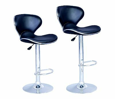 SET of 2 Bar Stools Black PU ...
