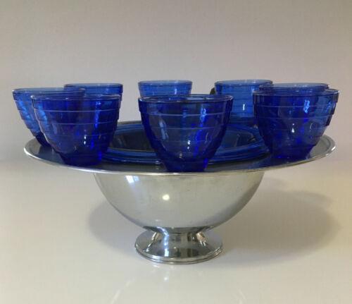 RARE Hazel Atlas Moderntone Cobalt Blue 11 Piece Punch Bowl Set - Complete