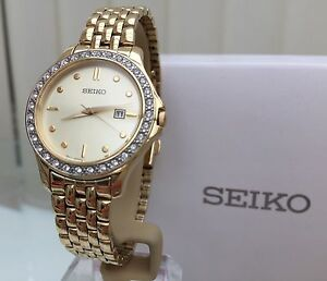 SEIKO Ladies Gold Plated Watch RRP£250 Japan Movt. Swarovski crystal IDEAL GIFT