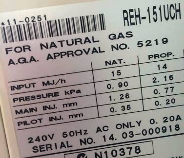 2 x Rinnai Titan 151 - Natural Gas - Beige - Radiant Con. Heaters Caringbah Sutherland Area Preview