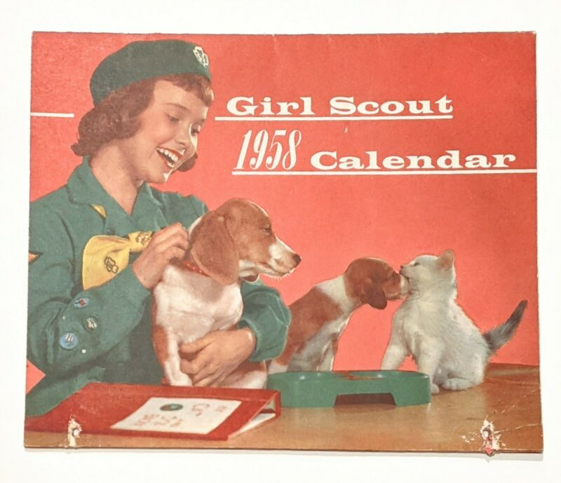 Vintage 1958 Girl Scout Calendar - Lots of daily life in calendar notes