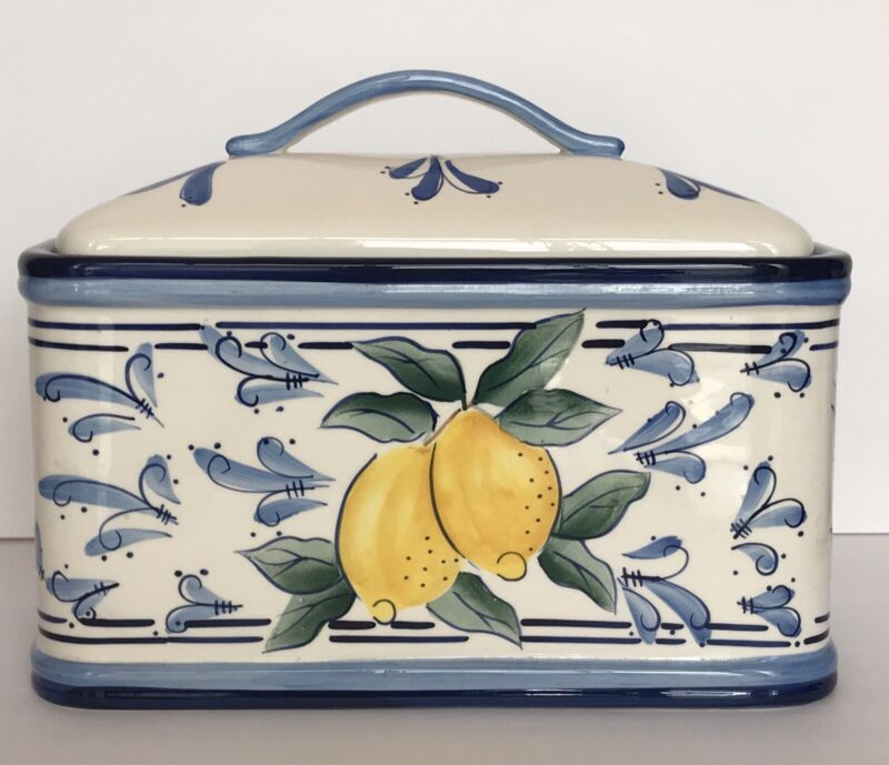 Inspirado Seattle USA Bread Box/Cookie Jar Stonelite Lemon Design w/ Blue