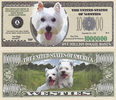 Two Westie - West Highland White Terrier Dog Money Bills #308