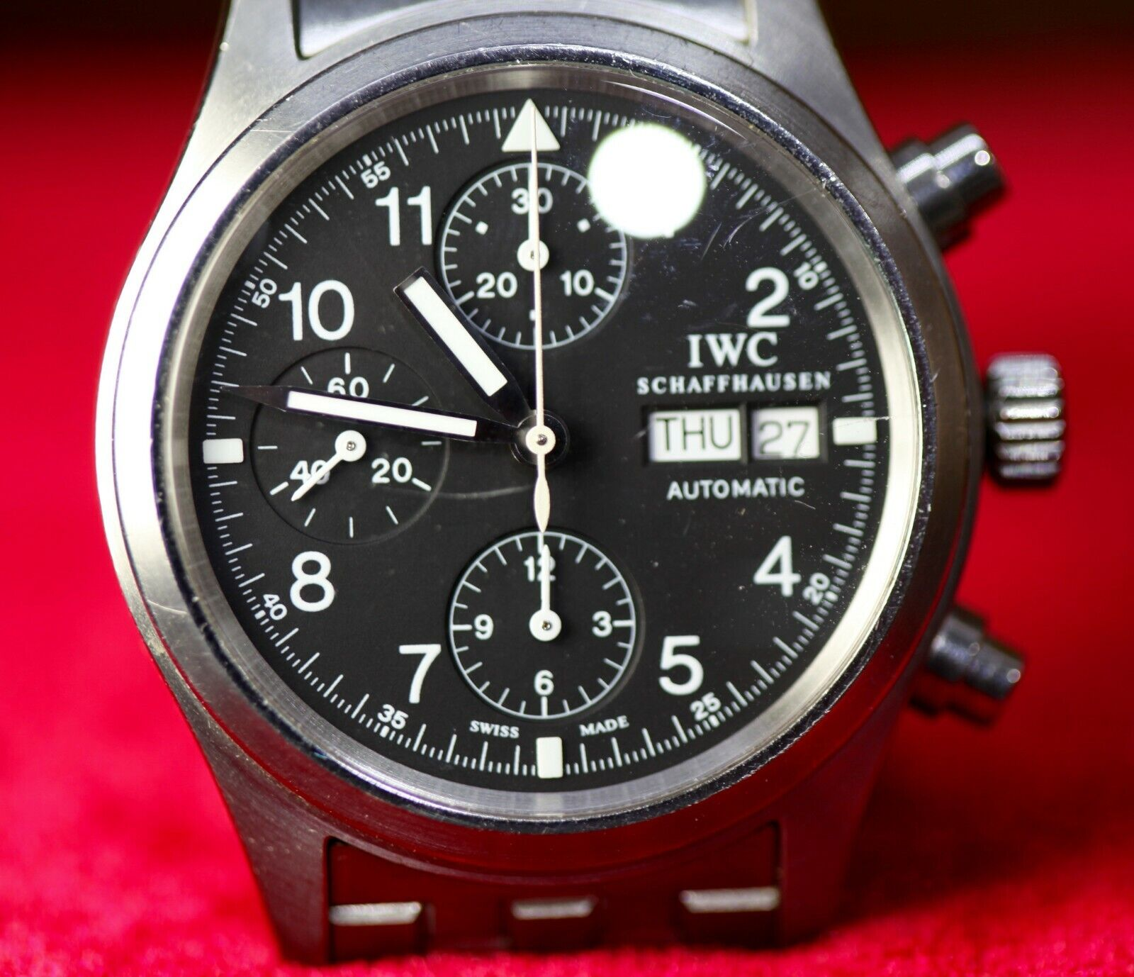 "Men's 40 MM IWC Chronograph Stainless Steel Pilot's Watch #2899052 ""Serviced"" - watch picture 1"