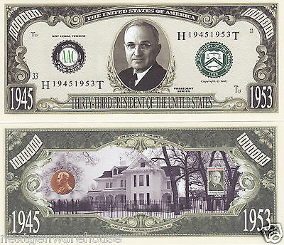 Two Harry S. Truman 33rd US President Novelty Bills # P33