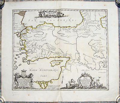 ANTIQUE RARE MAP TABULA ITINERIS DECIES MILLE GRAECORUM SUB CYRO P.DUVAL c. 1670