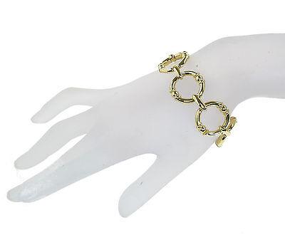 $64 Ralph Lauren Gold Tone YOUNG ROYALS Round Textured Link Bracelet NEW