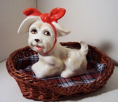 VINTAGE Shih Tzu Maltese Bichon Frise Breed Dog Toothache Wicker Bed JAPAN #028