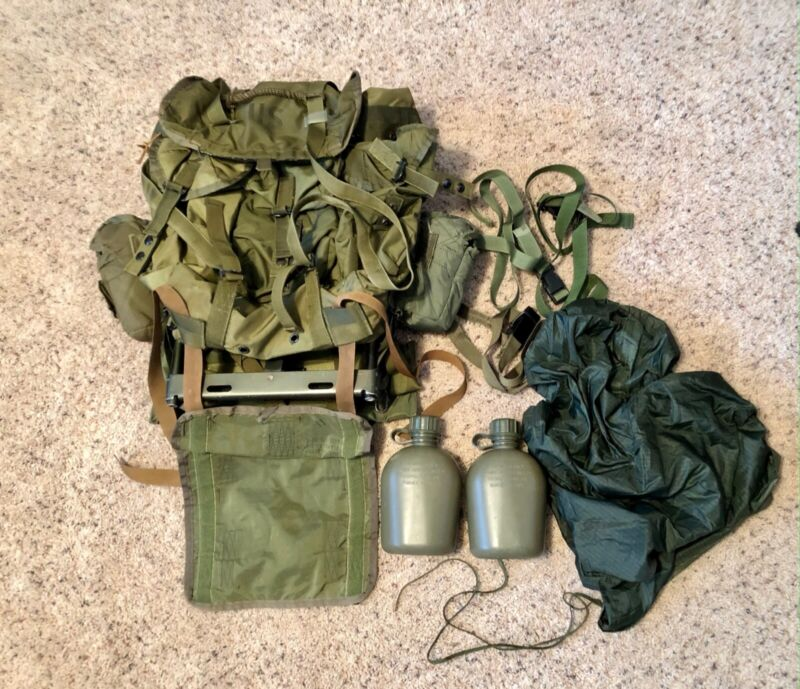 Full Rigged US Military Medium Alice Pack OD, wFrame, Straps & Kidney Pad, Liner