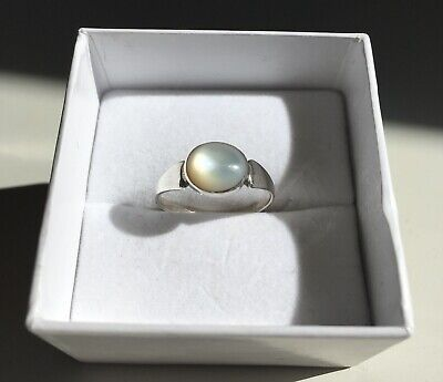 Silver Ring, Size M, With Pearlescent Stone, Hallmarked