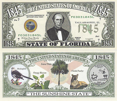 10 Florida FL State Quarter Novelty Currency Bills Lot Fl State
