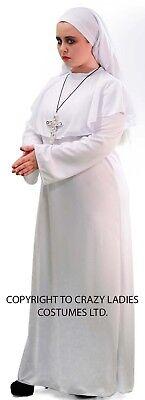 HALLOWEEN/Horror/Zombies/Stage LADIES WHITE NUN Fancy Dress Costume Sizes 10-42