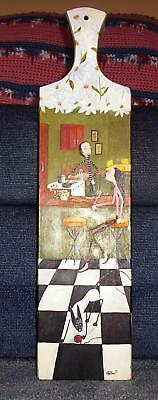 NEW YORK CITY NY COOKING SPAGHETTI WINE DINNER SIAMESE CAT BREAD BOARD PAINTING