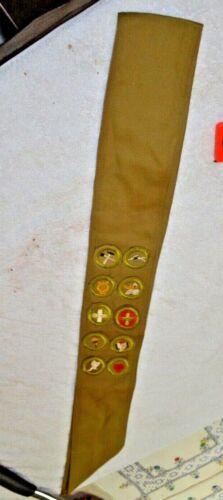 Vintage Boy Scout Merit Sash with 10 Badges