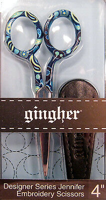 "Gingher Designer Series JENNIFER 4"" Embroidery Scissors with Sheath NIP"