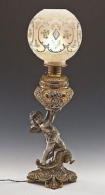 XL Bradley Hubbard Figural Banquet Piano Angel Putti Cherub Globe Bronze Lamp